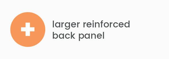 Larger reinforced back panel