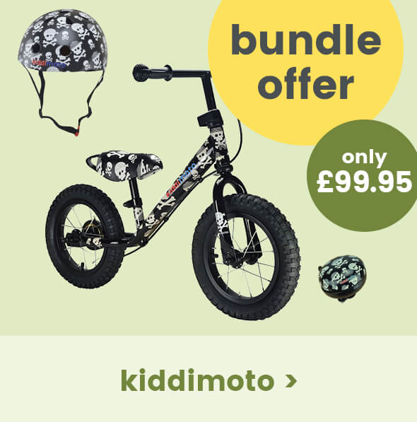 Free bell when you buy a Kiddimoto skullz super junior max balance bike and helmet