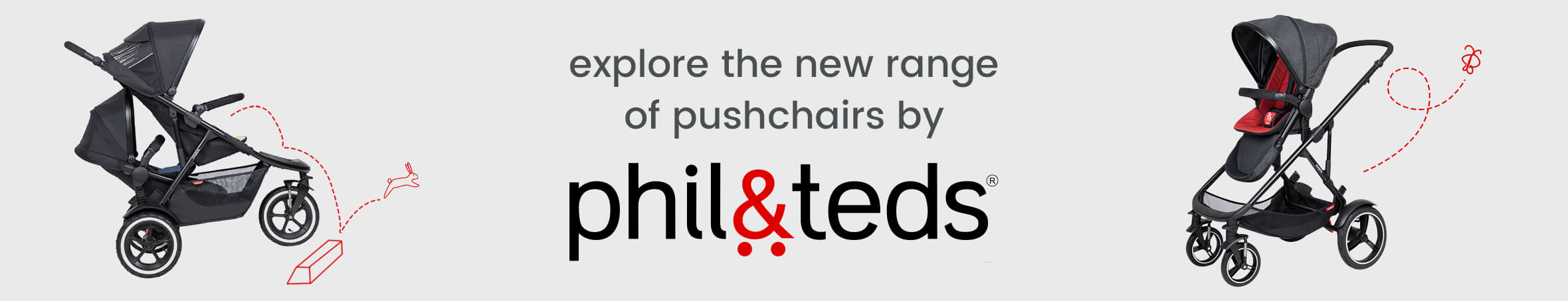 explore the new range of pushchairs by Phil & Teds