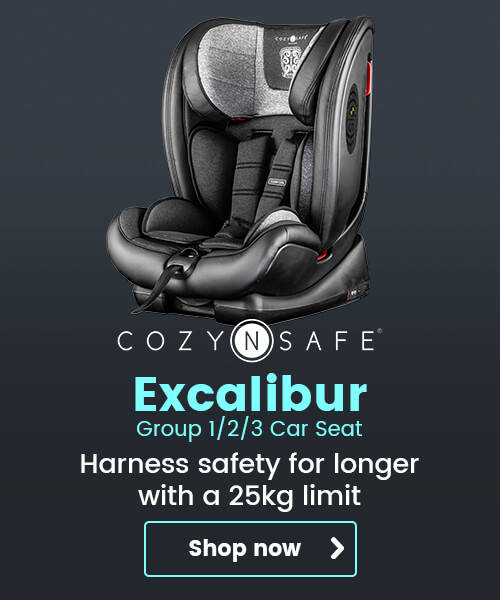 Cozy N Safe Excalibur Group 1/2/3 Car Seat - Harness safety for longer with a 25kg limit