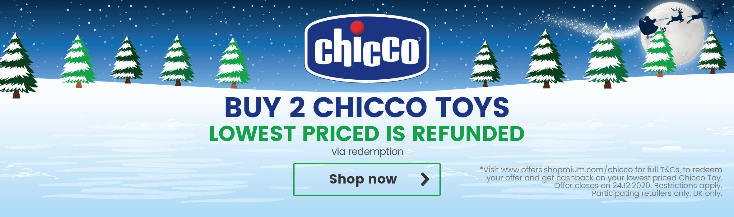 Buy two get one refunded on Chicco toys