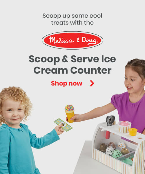 Scoop up some cool treats with the Melissa and Doug Scoop & Serve Ice Cream Counter